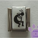 Kokopelli Italian Charm Symbol of Fertility black on white