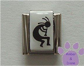 Kokopelli Italian Charm Symbol of Fertility black on white