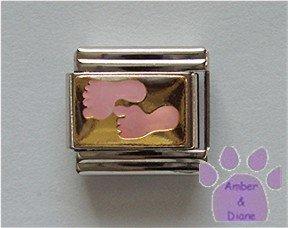 Pink Baby Feet Italian Charm on gold tone