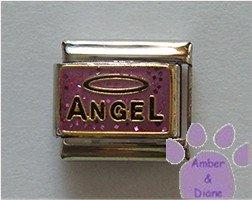 ANGEL with a Halo Italian Charm on pink-purple glitter