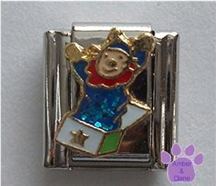 Jack in the Box Italian Charm Child's Toy in Blue Glitter