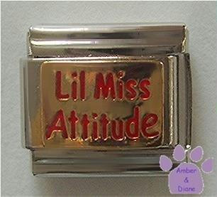 Lil Miss Attitude Italian Charm on Gold tone Background