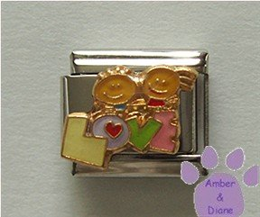 LOVE Children Italian Charm with little boy & girl holding hands