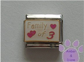 Family of 3 Italian Charm on white with 3 pink hearts