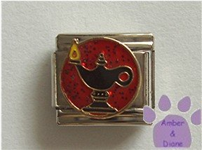 Aladdin Lamp Italian Charm genie's lamp on red glitter