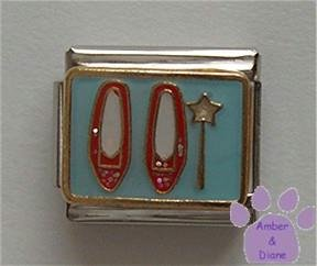 Dorothy's Red Jewelled Shoes and Wand Italian Charm