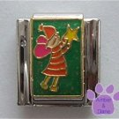 Fairy Holding a Star Italian Charm on Green Glitter