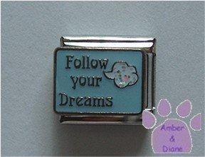 Follow your Dreams Italian Charm blue sky white glitter cloud