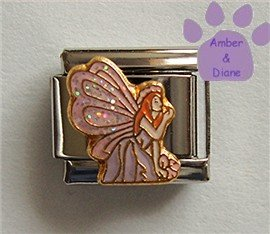 Gorgeous Fairy with Pink Glitter Wings Italian Charm
