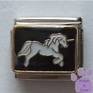 Gorgeous White Unicorn Italian Charm on Black background