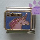 Unicorn Italian Charm Lavender with Lilac Mane and Horn on Blue