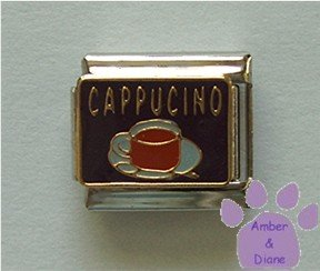 CAPPUCINO Italian Charm with a cup of Cappucino on black enamel