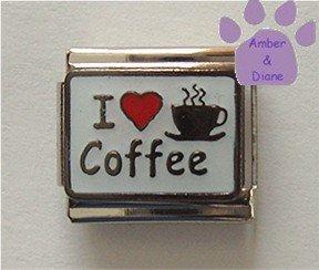I love (red heart) Coffee Italian Charm on white enamel