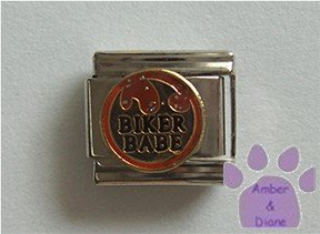 Biker Babe Italian Charm on gold tone background