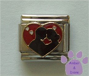 Couple Silhouetted Against a Red Heart Italian Charm