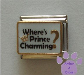 Where Is Prince Charming Italian Charm with gold tone crown