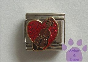 Bass Fiddle on a Large Red Glitter Heart Italian Charm