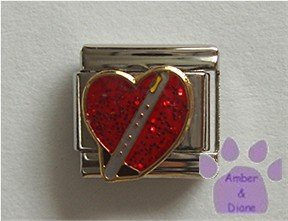 Flute on a Large Red Glitter Heart Italian Charm