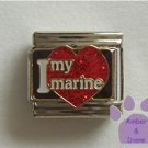 I love my marine Italian Charm on a big red glitter heart