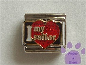 I love my sailor Italian Charm on a big red glitter heart