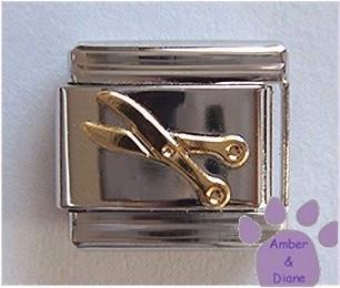 Goldtone Scissors Italian Charm for Hairdresser, Scrapbooker or Seamstress