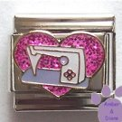 Love Sewing Machine Italian Charm Pink Glitter Heart
