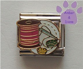Needle and Thread with Buttons Italian Charm for a Seamstress