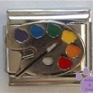 Paint on Silvertone Palette Italian Charm for Artist