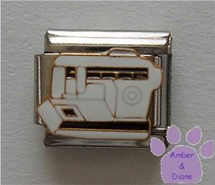 White Sewing Machine Italian Charm for Seamstress or Dressmaker