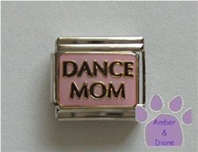 DANCE MOM Italian Charm on a pink background