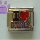 I Love Dance Italian Charm with red glitter enamel heart