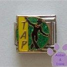 TAP Dancer Italian Charm Silhouette on Green Glitter