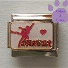 Dancer Italian Charm on white enamel with pink Heart & Dancer