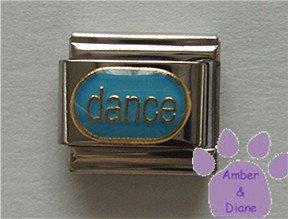 dance Italian Charm gold tone on blue enamel oval disc