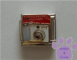 I love (red heart) MY DIGITAL Italian Charm Camera red glitter