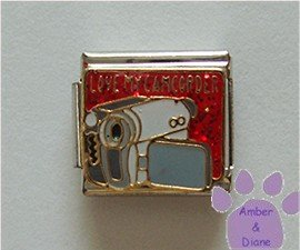 LOVE MY CAMCORDER Italian Charm Camera with red glitter