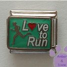 Love to Run Italian Charm with Runner -L(red heart)ve