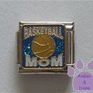 BASKETBALL MOM Italian Charm on blue glitter