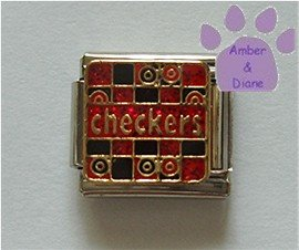 checkers on a Game Board Italian Charm red & black checker board