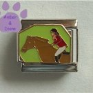 Equestrian and Horse Italian Charm Brown Horse and Rider