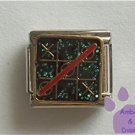 Game of Tic Tac Toe Italian Charm on black glitter background