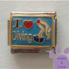 I Love (red heart) Diving Italian Charm Diver on Box