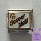 Soccer MoM Italian Charm on white with Soccer Ball