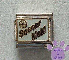 Soccer MoM Italian Charm on white with Soccer Ball