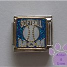 SOFTBALL MOM Italian Charm on blue glitter