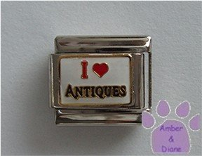 I Love (red heart) ANTIQUES Italian Charm on white
