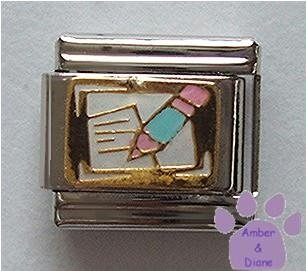 Paper and Pencil Italian Charm for Writer, Teacher or Editor