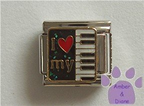 I love my Keyboard Italian Charm red heart and piano keys