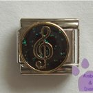 Treble Clef Italian Charm gold tone on Black Glitter Enamel