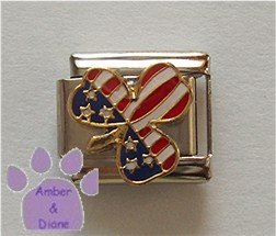 American Flag Clover or Shamrock Italian Charm US red white blue